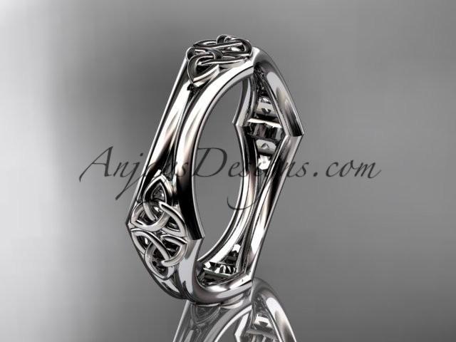 Wedding - 14kt white gold diamond celtic trinity knot wedding band, engagement ring CT7356G