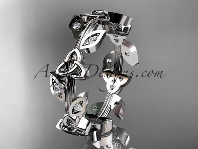 Wedding - 14kt white gold diamond celtic trinity knot wedding band, engagement ring CT7193B