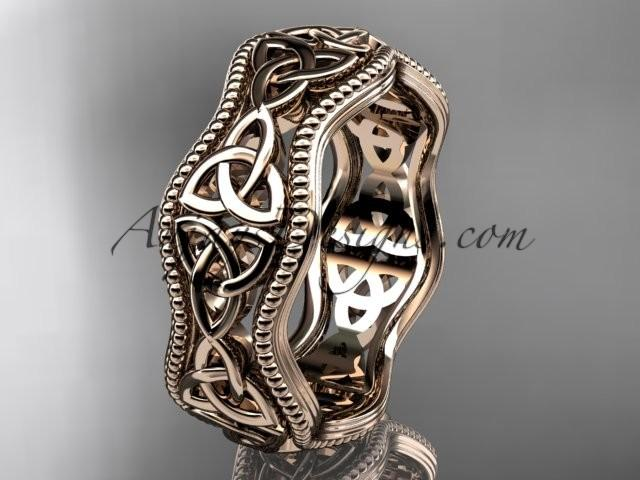 14kt Rose Gold Celtic Trinity Knot Engagement Ring Wedding Band