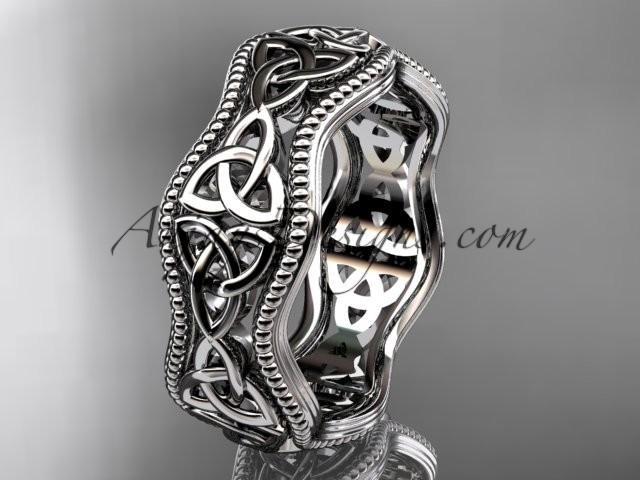 Wedding - 14kt white gold celtic trinity knot engagement ring, wedding band CT750B
