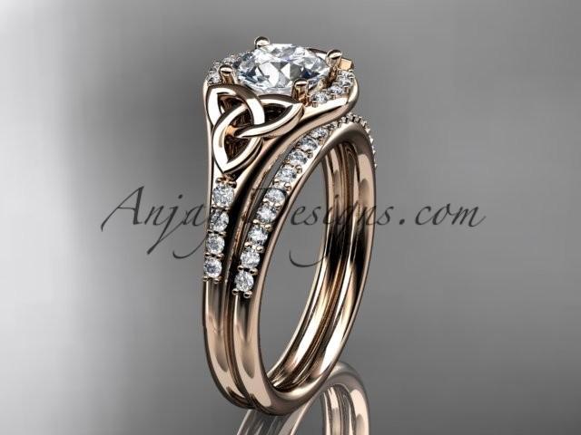 زفاف - 14kt rose gold diamond celtic trinity knot wedding ring, engagement set CT7126S