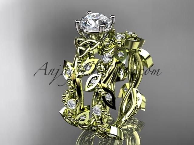 Wedding - 14kt yellow gold celtic trinity knot engagement set, wedding ring CT759S