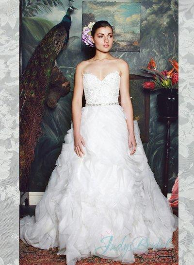 Hochzeit - luxury sweetheart neck organza ruffles ball gown wedding dress