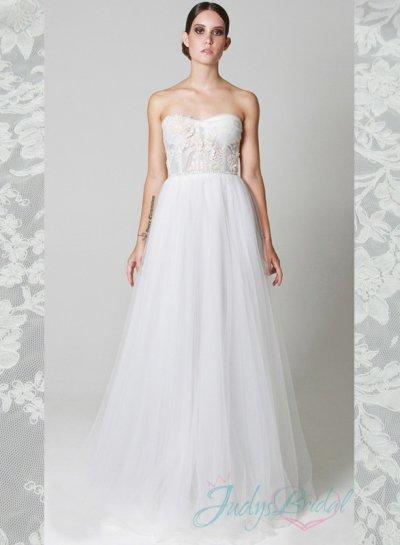 Y Illusiom Midriff Full Tulle Skirt Wedding Dress