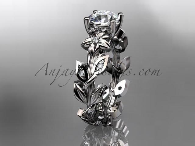 14k White Gold Diamond Floral Leaf And Vine Wedding Ring