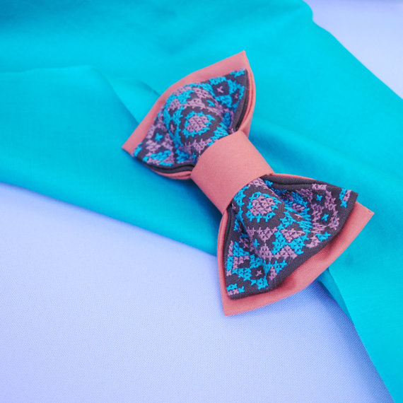 Wedding - Bow tie for men Hand embroidered brown bowtie with bright turquoise pattern Weddings bowties Men's ties Accessories for men Gift idea Xmass