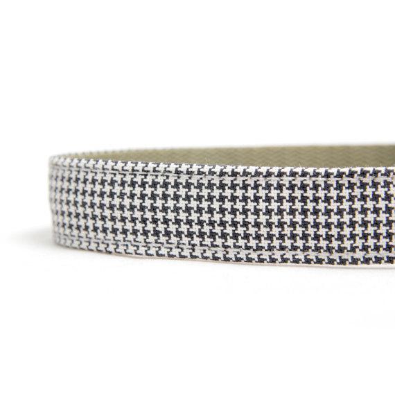 زفاف - Dog Collar - Black and White Mini Houndstooth