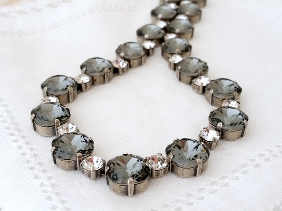 Wedding - Grey and Clear white diamond Swarovski crystal necklace, Bridal necklace, Statement necklace, Tennis necklace, Wedding jewelry prom necklace
