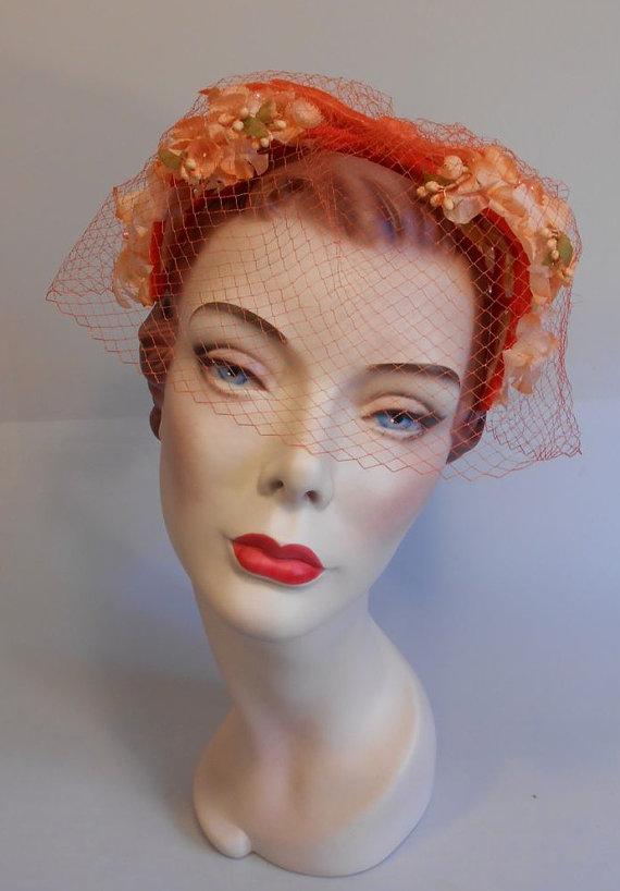 Tropical Citrus Wedding - 1950s Tangerine   Mango Floral Buds Bandeau Half  Hat Fascinator w Veil 7aec6fbea22