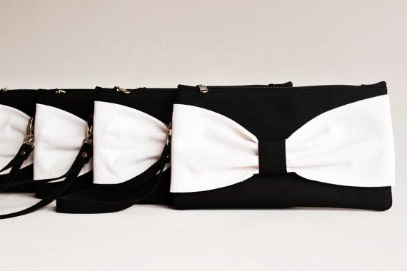 زفاف - Promotional sale   - SET OF 7  - Black ,white Bow wristelt clutch,bridesmaid gift ,wedding gift ,make up bag,zipper-Black ,white