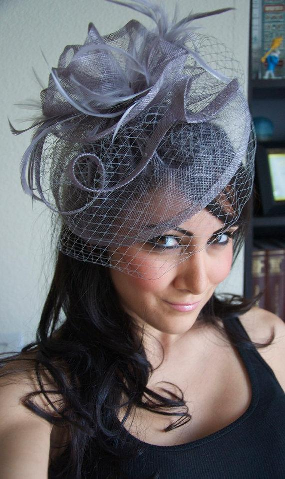 Lavender Fascinator Noor Gray Hat Headband W Ribbon Waves A Birdcage Veil