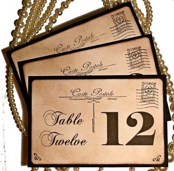 Postcard Wedding Table Numbers, Carte Postale, Vintage Table Numbers ...