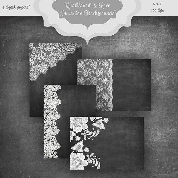 زفاف - Chalkboard & LACE Digital Paper Pack - Chalkboard and lace pattern wedding invitation bridal shower backgrounds - 5 x 7 Invitation Papers