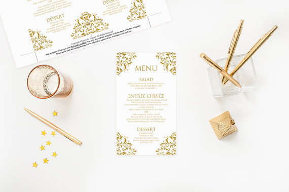 Mariage - Wedding Menu Card Template - DOWNLOAD INSTANTLY - Edit Yourself - Nadine (Gold) 4 x 7 - Microsoft Word Format