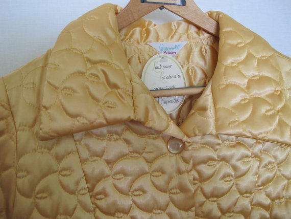 Свадьба - 1960's Satin Quilted Robe Apricot Peach Robe Deadstock J C Penney Medium