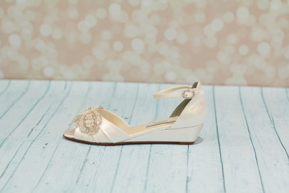 Mariage - Wedding Wedge Shoes - Wedge - Wedding Shoes - Wedges- Parisxox By Arbie Goodfellow - Choose From Over 150 Color Choices - Dyeable Shoes