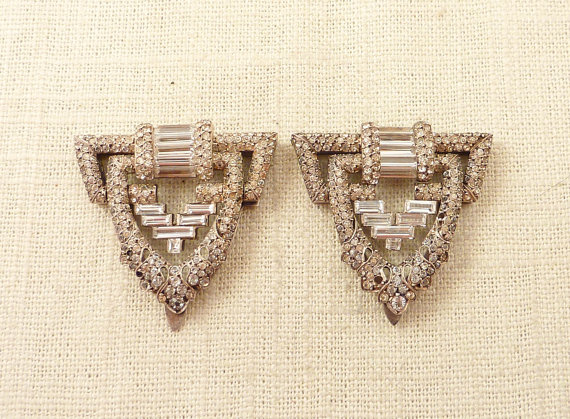 Wedding - Stunning Antique French Art Deco Sterling and Paste Pave Dress Clips Pair
