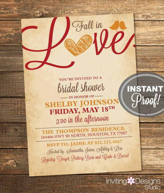 Mariage - Fall Bridal Shower Invitation, Fall in Love, Birds, Autumn, Orange, Red, Brown, Rustic, Printable File (Custom order, INSTANT DOWNLOAD)