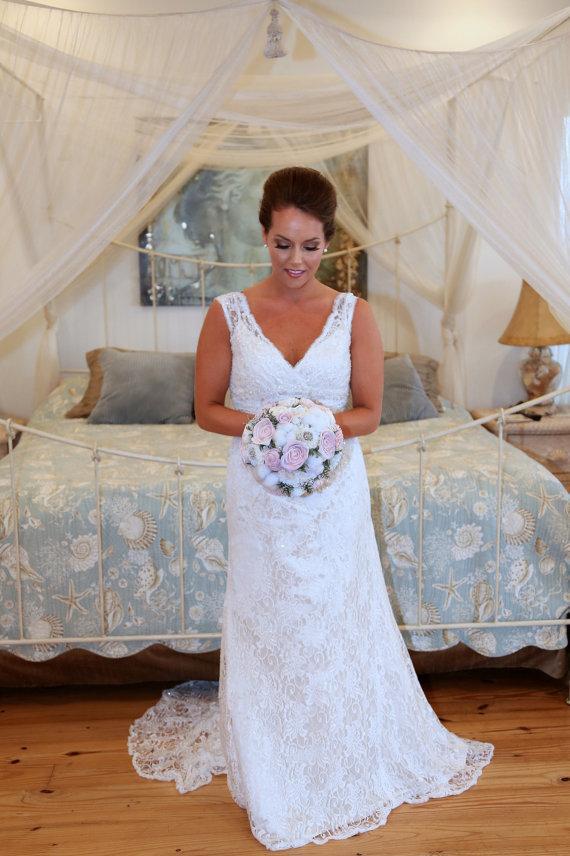 Mariage - Lg. Wedding Bouquet made with sola flowers - choose your colors - balsa wood - Alternative bouquet - bridesmaids bouquet