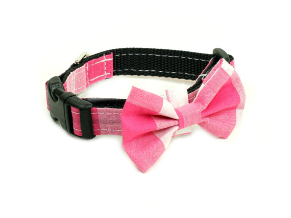 Свадьба - Wedding Dog Collar or Martingale with Bow Tie - Checkered Pink and White