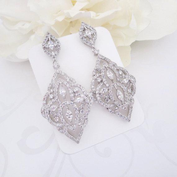 Mariage - Crystal Bridal earrings, Chandelier Wedding earrings, Wedding jewelry, Statement earrings, Bridal jewelry, Long earrings, Cubic Zirconia