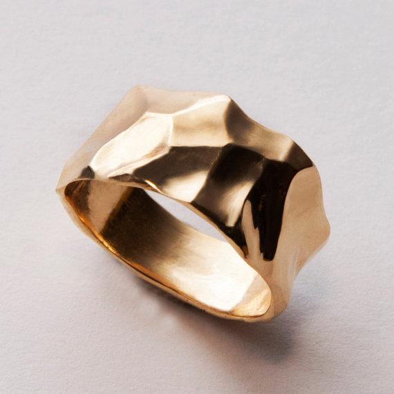 زفاف - Butter No.2 - 14K Gold Wedding Band, 14K Gold Ring, unisex ring, wedding ring, wedding band, mens ring, men's wedding band