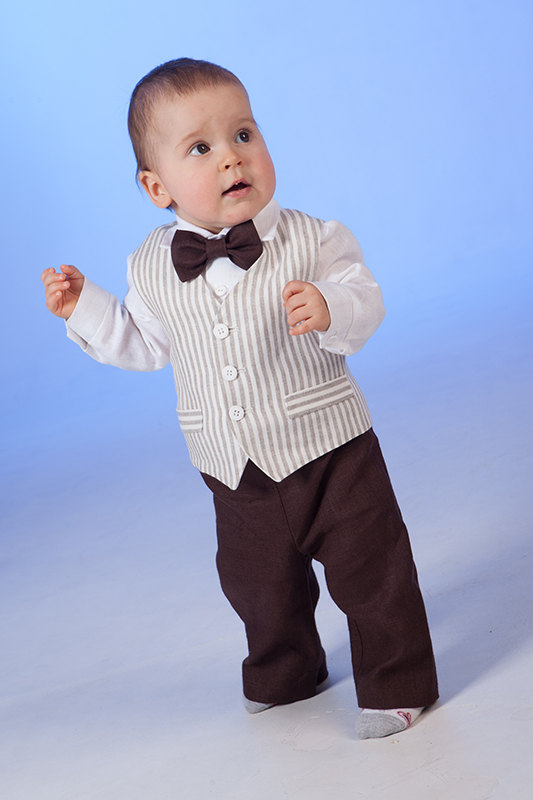 Boy Linen Suit Ring Bearer Outfit Baby Boy Baptism Natural Clothes
