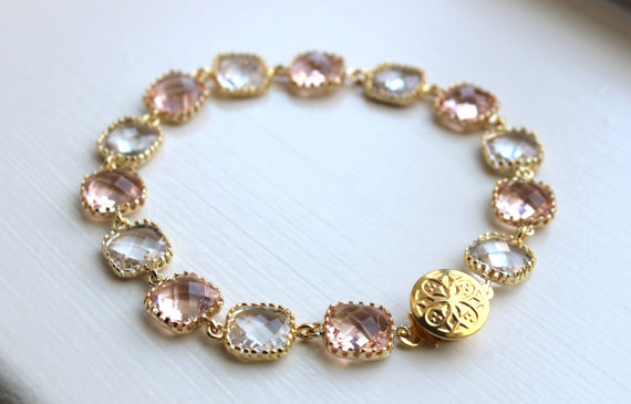 Mariage - Blush Champagne Crystal Bracelet Gold Plated - Pink Clear Bridesmaid Bracelet - Peach Bridal Bracelet - Champagne Crystal Wedding Jewelry