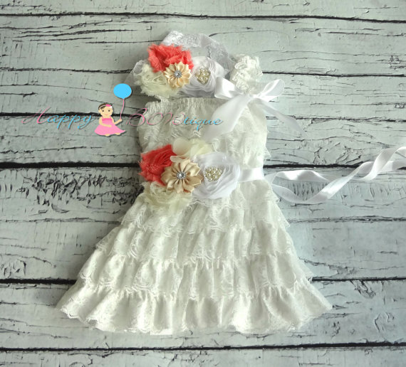 Mariage - Vintage White Coral Lace Dress, Flower girls dress,Ivory Lace Dress, baptism dress,baby dress, Birthday outfit, baby Christening,wedding