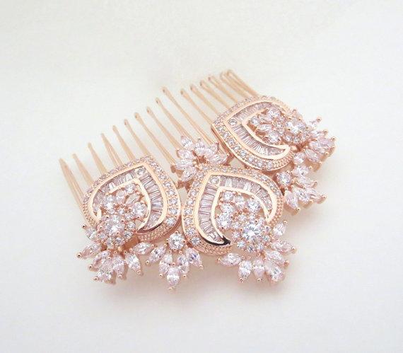 Mariage - Rose Gold Bridal Hair Comb, Rose Gold Wedding headpiece, Crystal Bridal hair comb, Wedding jewelry, Rose Gold Hair clip, EMMA Hair comb