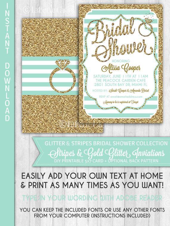 زفاف - Bridal Shower Invitation, Mint, Gold Glitter & Stripes Bridal Shower Invite, Glitter Ring, Instant Download: DIGITAL PRINTABLE FILE