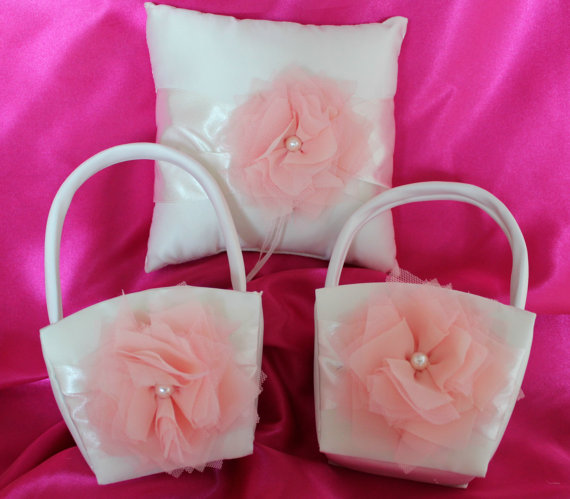 Hochzeit - 2 Ivory or White Flower Girl Baskets and 1 Pillow Ring Bearer Pillow-Blush/Apricot-Custom Colors