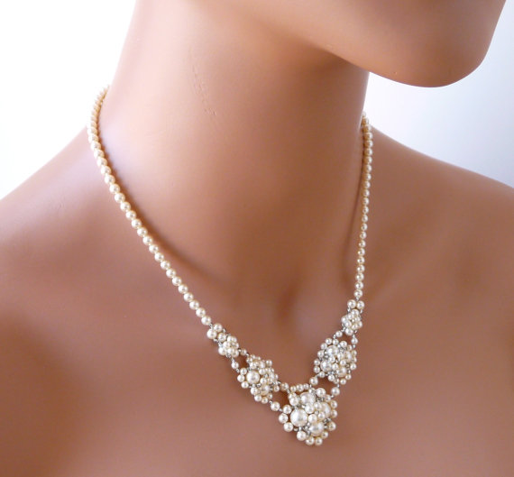 WHITE Or IVORY Pearl Wedding Necklace Bridal Jewelry V Necklace