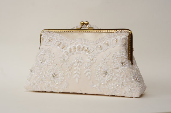 Ivory Bridal Lace Clutch / Vintage Inspired / Elegant Wedding Clutch /wedding Bag / Bridal ...