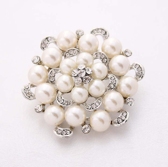 Wedding - Rhinestone Pearl Wedding Brooch Embellishment Crystal Silver Pearl Brooches Bridal Dress Sash Cake Neckalce DIY Jewelry Crafts Pearl Broach