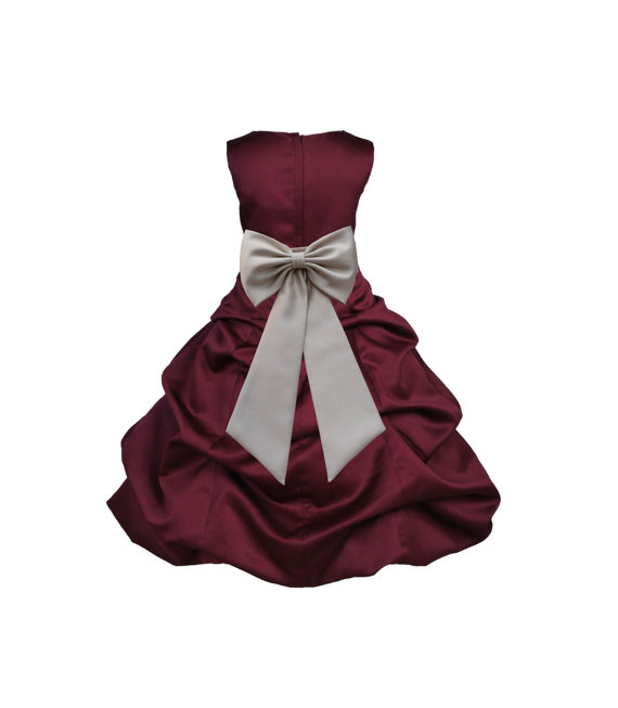 Burgundy Flower Girl Dress Tiebow Sash Pageant Wedding Bridal ...