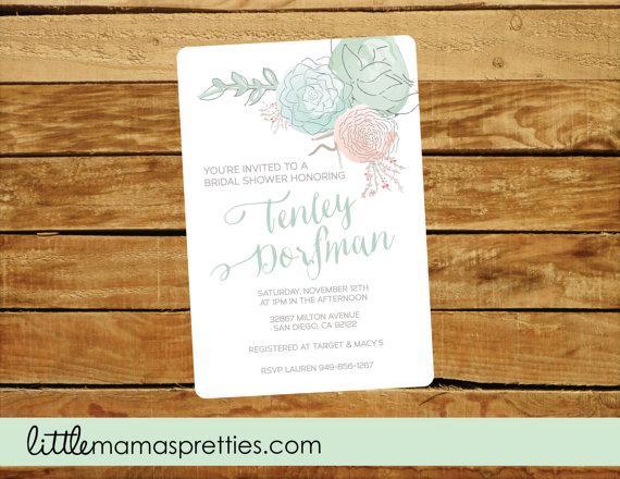 زفاف - Succulent Bridal Invitation, Bridal Shower,