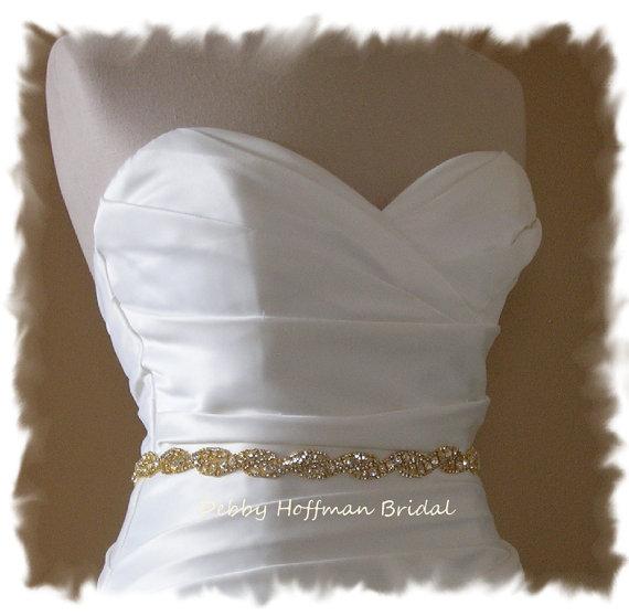 زفاف - Gold Bridal Sash, Gold Rhinestone Bridal Sash, 18 Inch Jeweled Gold Wedding Dress Sash, Rhinestone Crystal Gold Wedding Sash, No. 5050GS-18