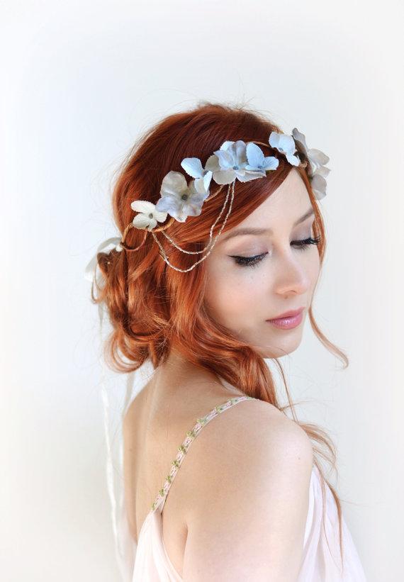 Mariage - Silver flower crown, wedding headpiece, grey floral crown, hair wreath, art nouveau headdress, bridal hair accessories