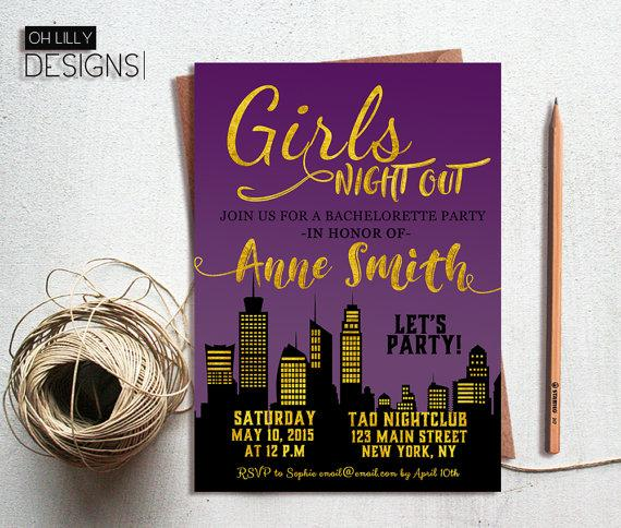 Wedding - Bachelorette Party Invitation, Girls Night Out, Gold Glitter Bachelorette Invite, Digital File, Download, Custom Invitation, Printable
