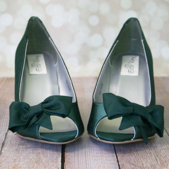 زفاف - Wedge Wedding Shoes -- Pine Green Peep Toe Wedge Wedding Shoes with Off Center Matching Bow on the Toe