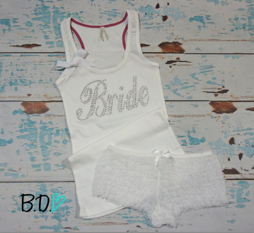 Wedding - Bride ribbed tank top with bow and ruffly lace boyshort panties. Bridal lingerie set. Honeymoon tank top. Honeymoon lingerie. Bridal gift