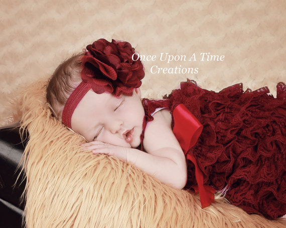 Mariage - Maroon Satin and Tulle Puff Blossom Headband - Newborn Baby Hairbow - Little Girls Hair Bow - Autumn Burgundy