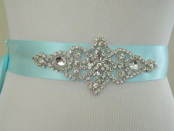 زفاف - Bridesmaid Sash-Wedding Sash/Belt-Bridal Sash-Rhinestone Sash-Ocean Blue Wedding Sash