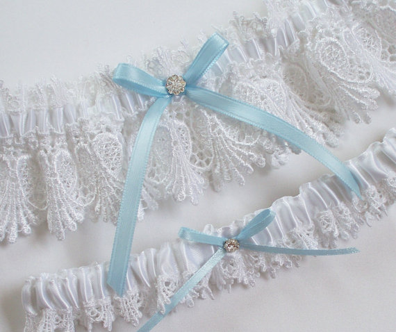 Wedding - White Lace Garter Set with Light Blue Ribbon Bow and Crystal Finding