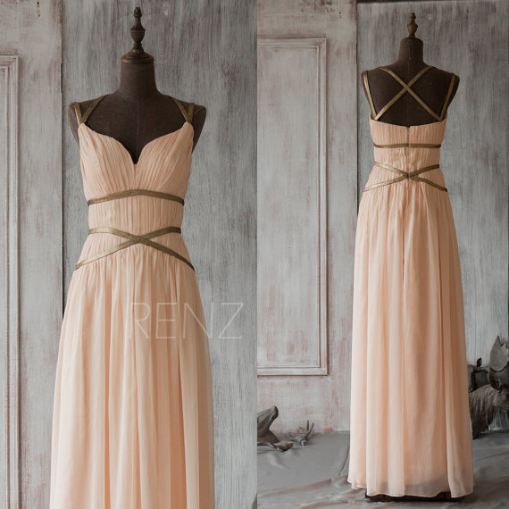 Свадьба - 2015 Long Coral Bridesmaid Dress,Chiffon Halter Prom Dress,Blush Floor Length Formal Dress,Peach Criss Cross Cocktail Dress(F062A1)-Renzrags