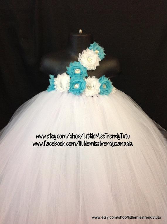 Свадьба - One Shoulder White Flower Girl Tutu Dress with Turquoise White Flowers, White Tutu Dress, Flower Girl Dress,  Party Dress, White Tutu