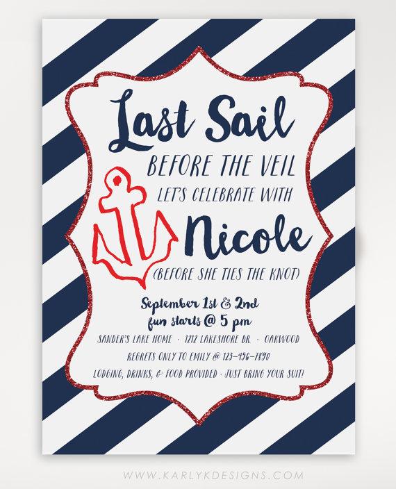 Last Sail Before The Veil Bachelorette Party Invitation