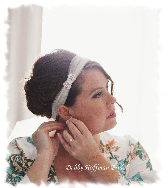 Wedding - Rhinestone Tulle Bridal Headband, Wedding Headband, Jeweled Turban, Bandeau, Birdcage Blusher Veil,  No. 411, Crystal Tulle Wedding Headband