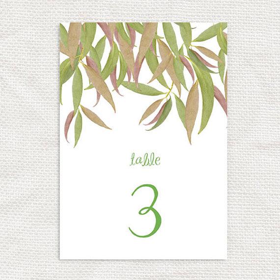 Gum Leaf Printable Table Numbers File